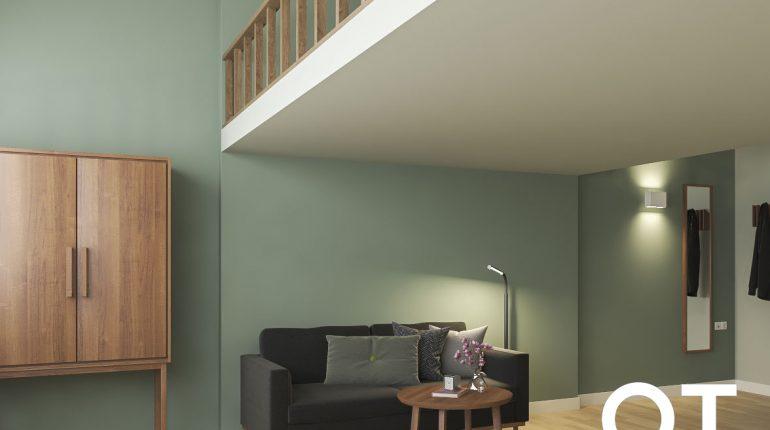Studio entresol living area Short Stay Wageningen